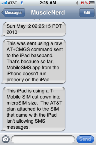 iPad enviando SMS