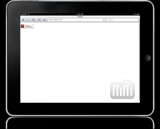 Site da Prada no iPad