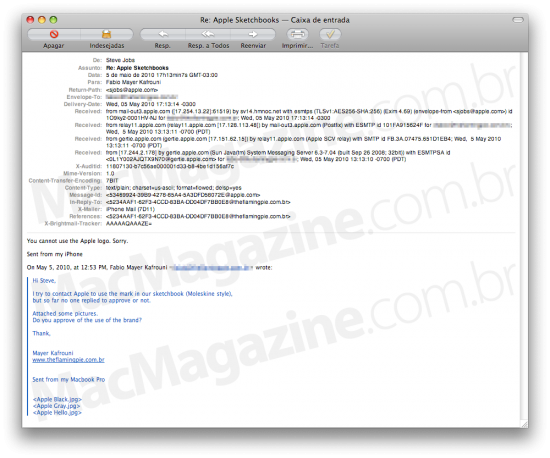 Email de Steve Jobs sobre sketchbooks