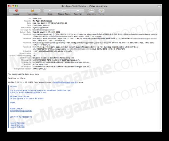 Email de Steve Jobs sobre sketchbooks