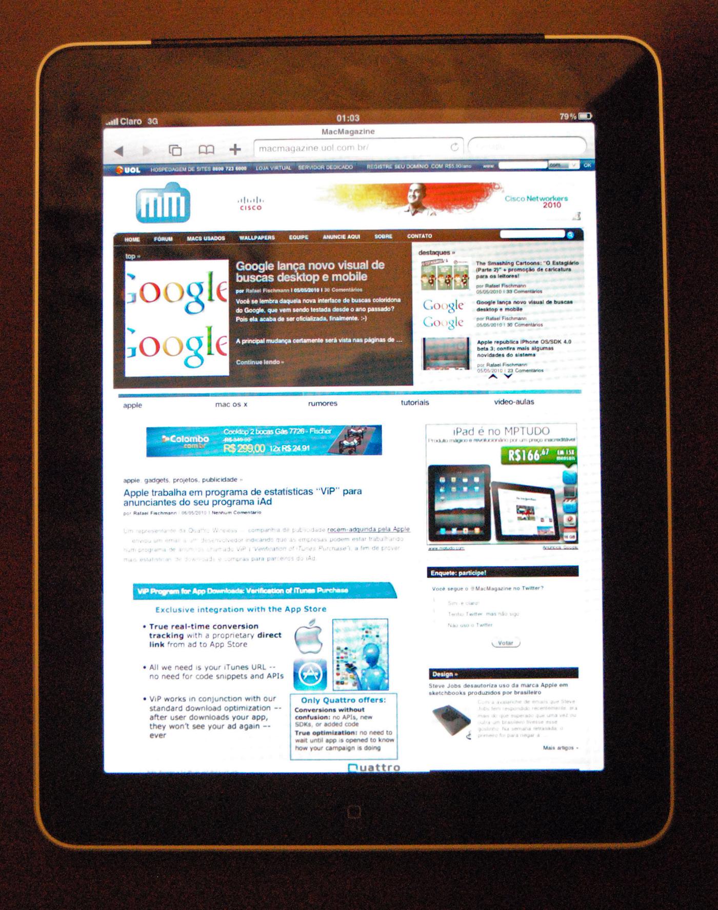 iPad 3G rodando na rede da Claro