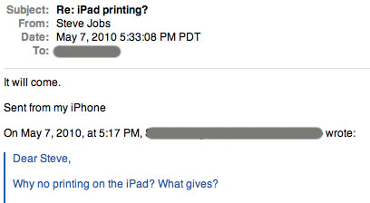 Steve Jobs sobre impressão no iPad