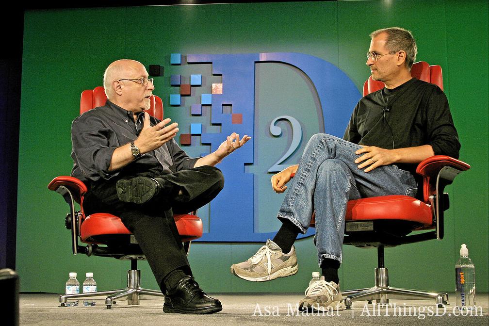 Steve Jobs e Walt Mossberg na D2