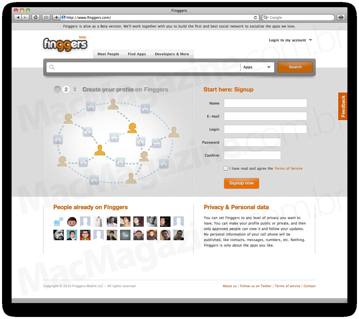 Rede social Finggers no Safari