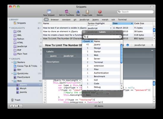 Snippets no Mac OS X