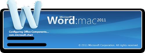Tela de abertura do Word do Microsoft Office 2011 para Mac