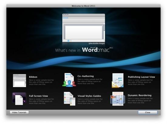 Tela inicial do Word no Microsoft Office 2011 para Mac
