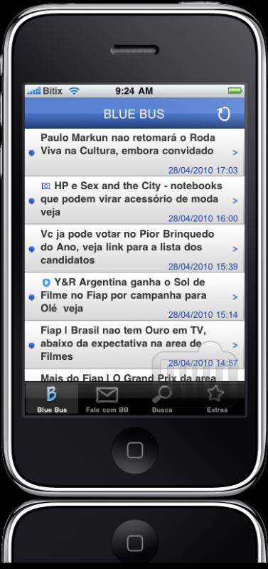 App do Blue Bus para iPhone