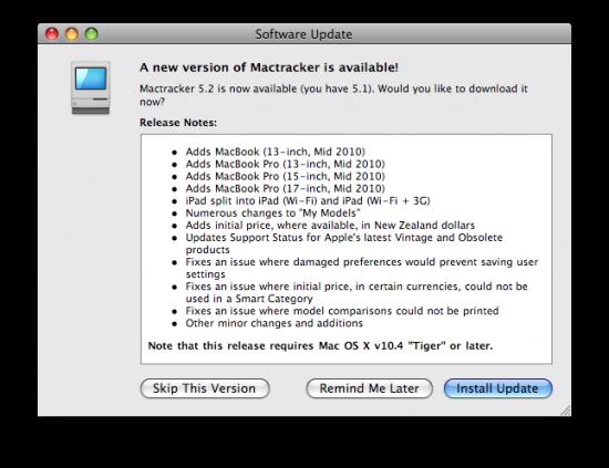 Mactracker 5.2 já disponível