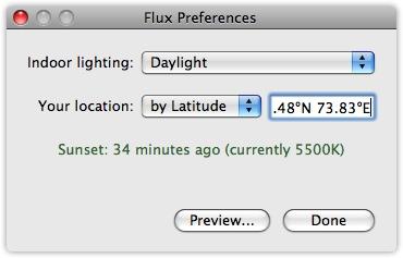 Painel de preferências do F.lux no Mac OS X