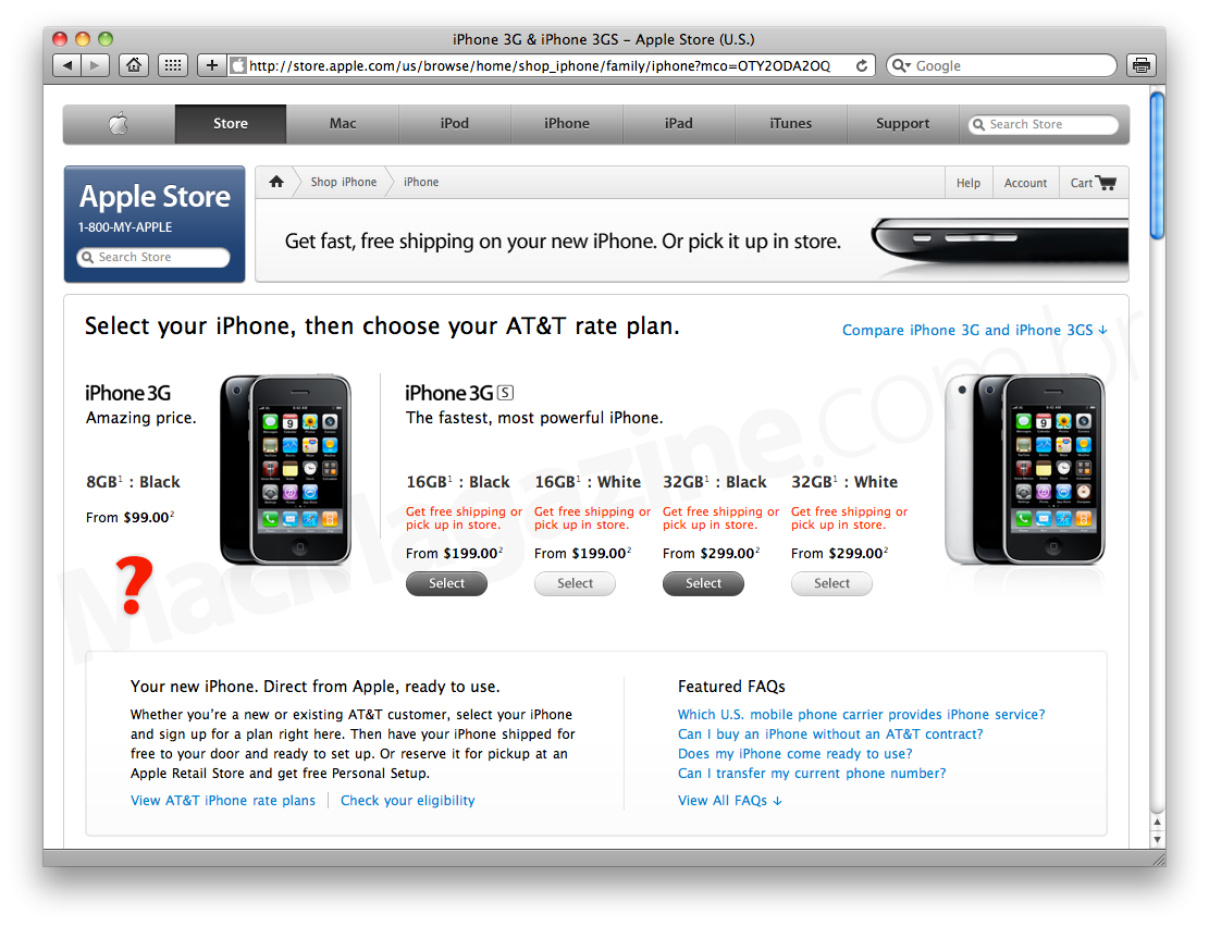 iPhones na Apple Online Store