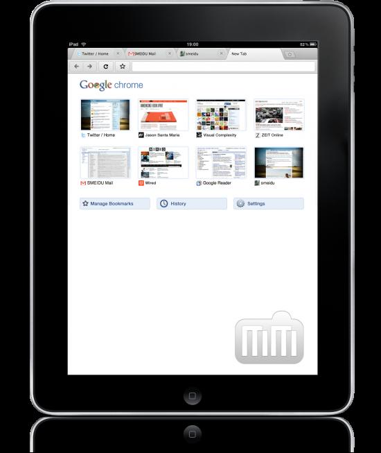 Mockup do Google Chrome no iPad