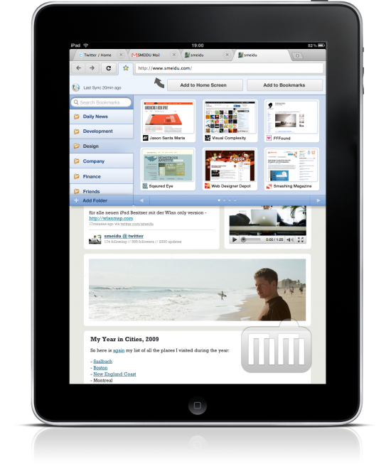 Mockup do Google Chrome no iPad