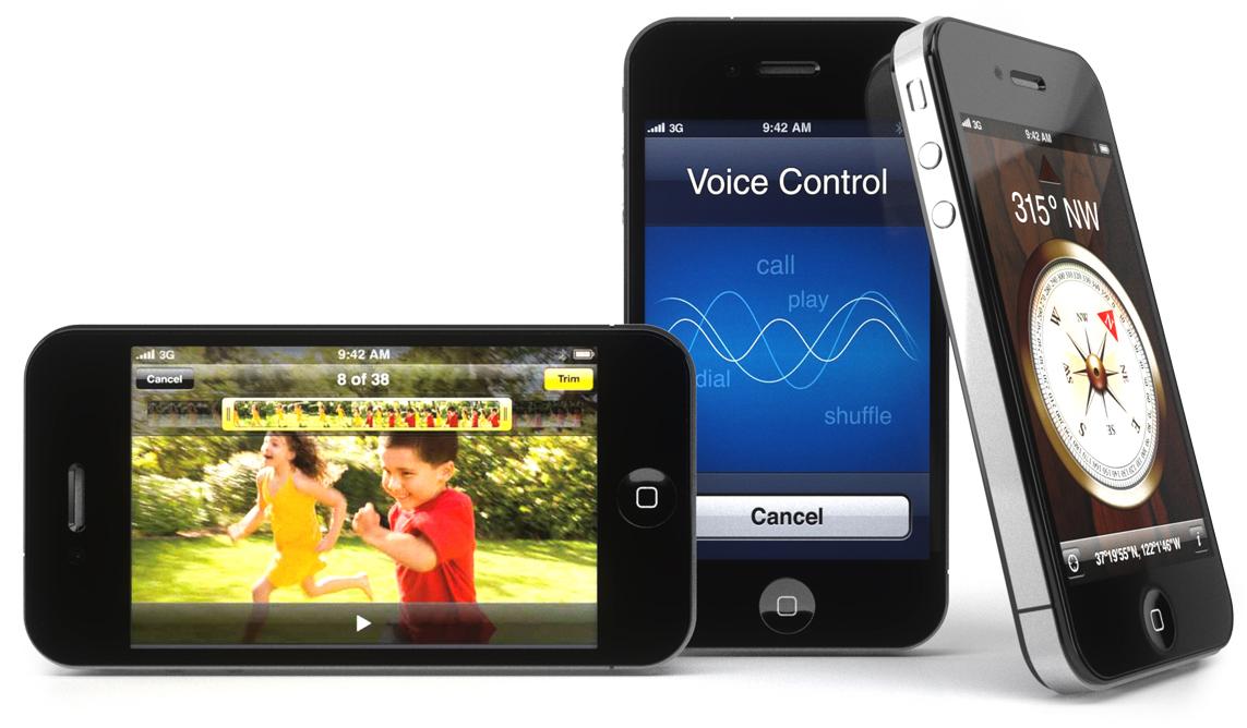 Render de três iPhones 4G/HD