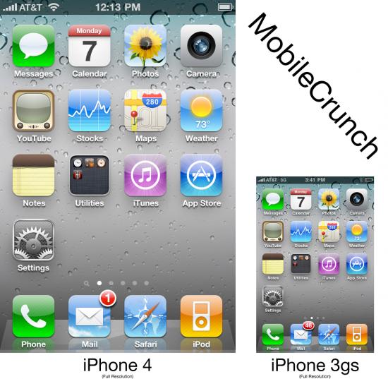 Comparativo de screenshots do iPhone 4 com o 3GS