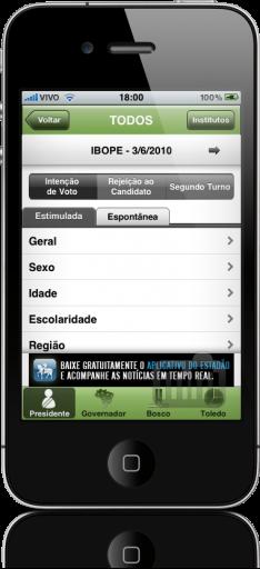 Eleições 2010 – Estadão.com.br no iPhone