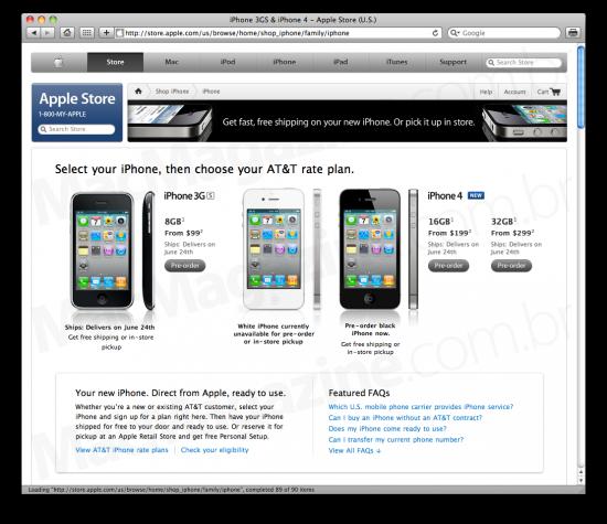 Pré-venda do iPhone 4 na Apple Online Store