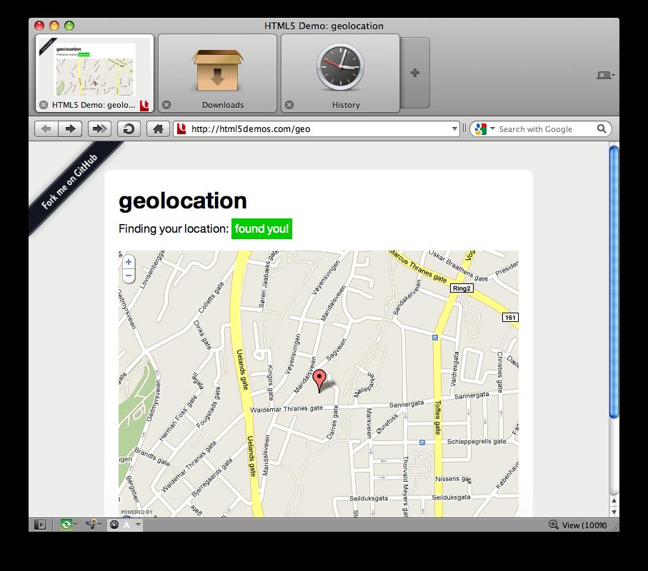 Geolocalização no Opera 10.6 beta