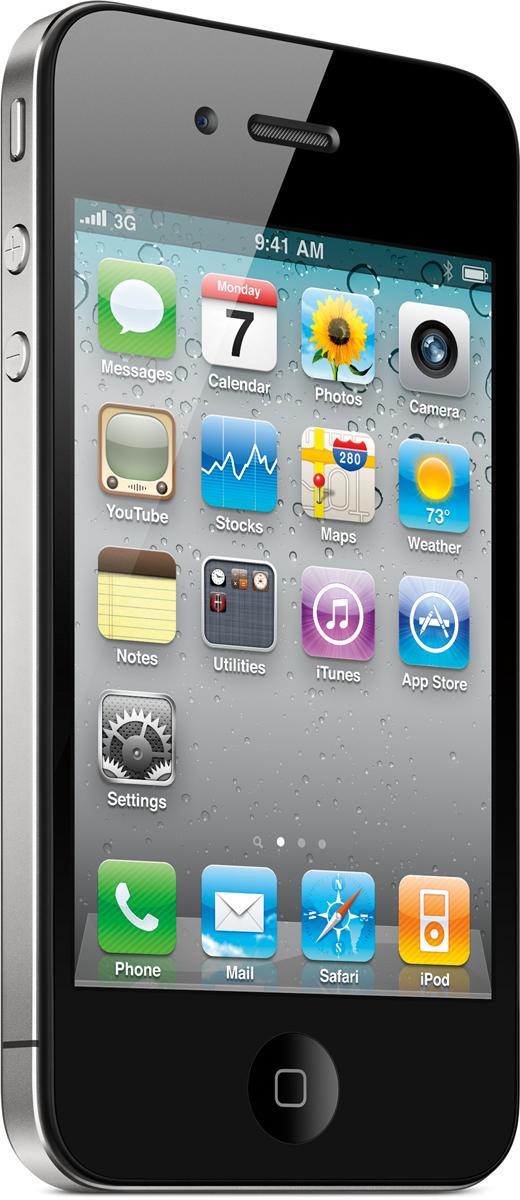 iPhone 4 em pé, de lado