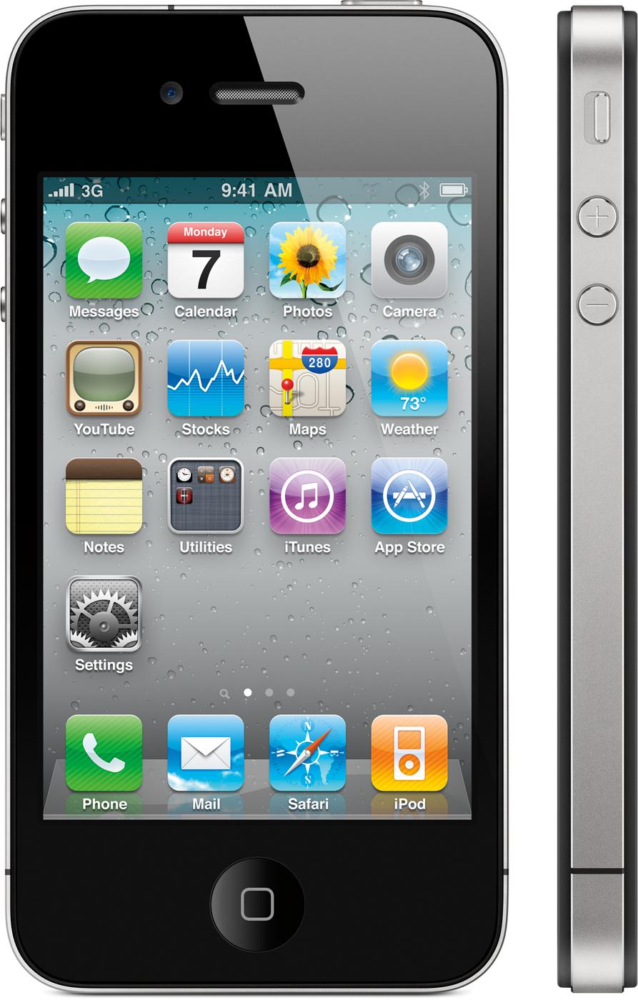 iPhone 4 visto de frente, com visão lateral também