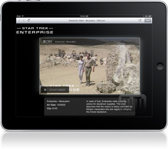 """Star Trek"" em HTML5 da CBS no iPad"