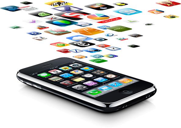 Apps saindo de um iPhone