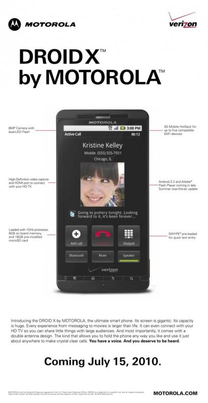 Propaganda do DROID X, da Motorola
