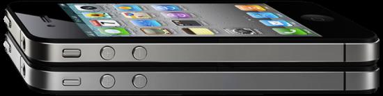 iPhone 4 deitado de lado