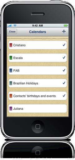 Configurações do Calendars