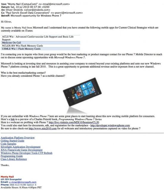 Email da Microsoft sobre desenvolvedores