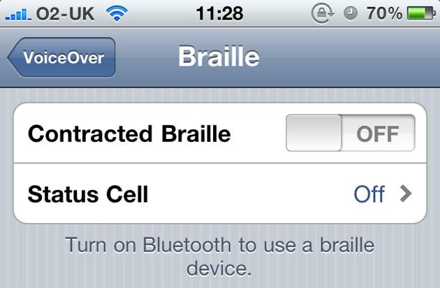 Display Braille conectado ao iPhone 4