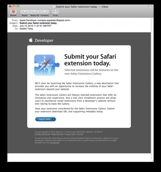 Safari Extensions - Email para desenvolvedores