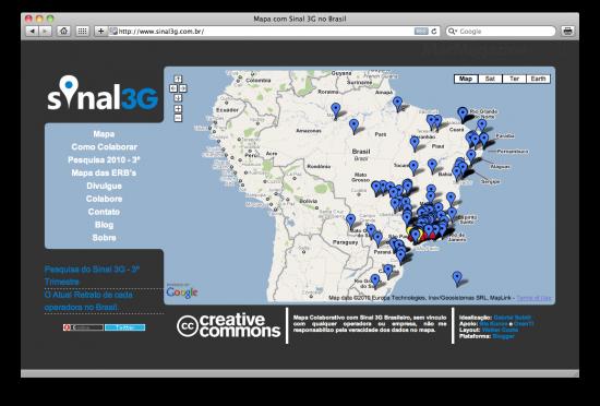 Mapa do Sinal 3G no Brasil (Safari)