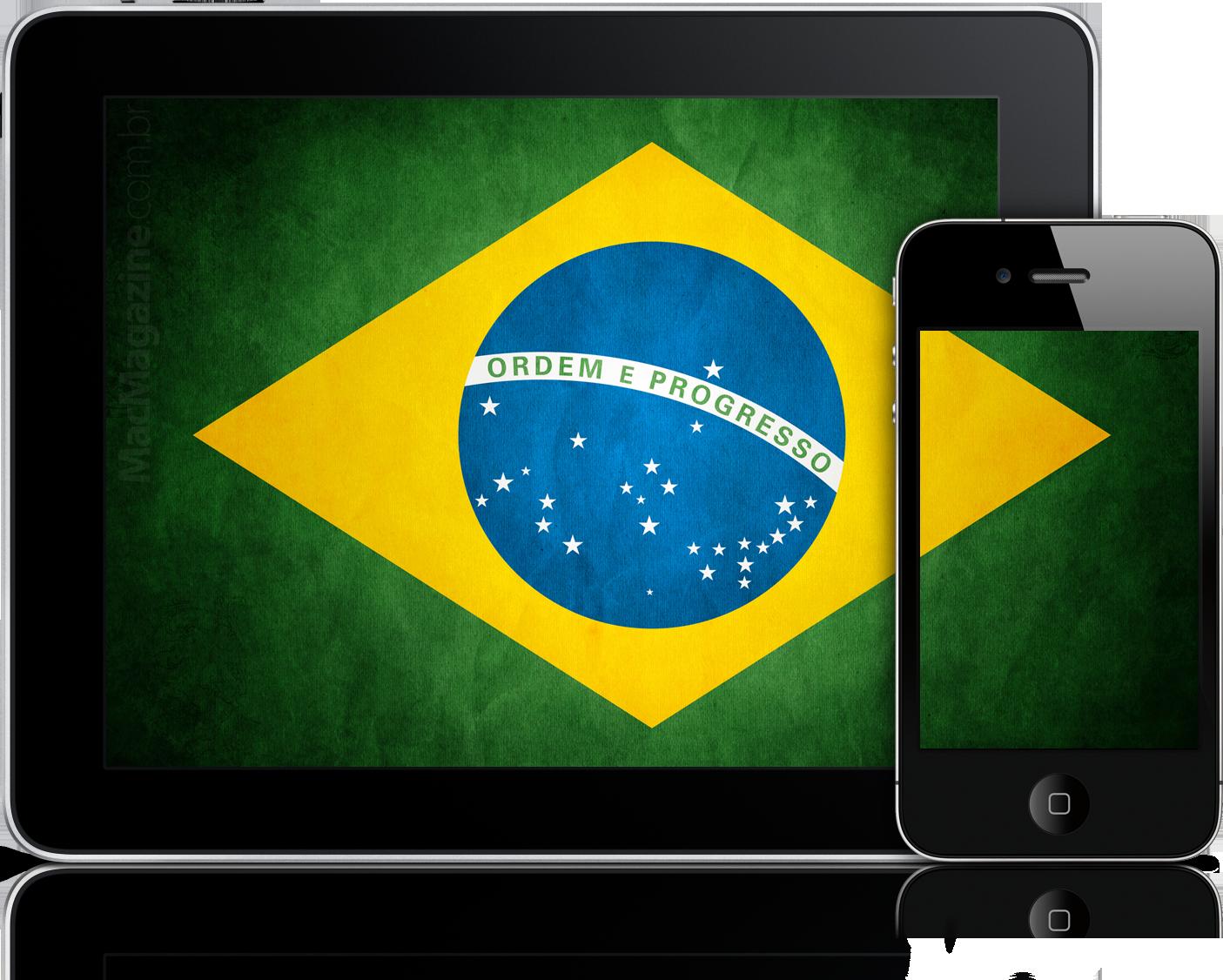 iPad e iPhone 4 com a bandeira do Brasil