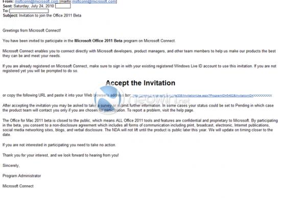 Convite da Microsoft para o beta do Office 2011 para Mac
