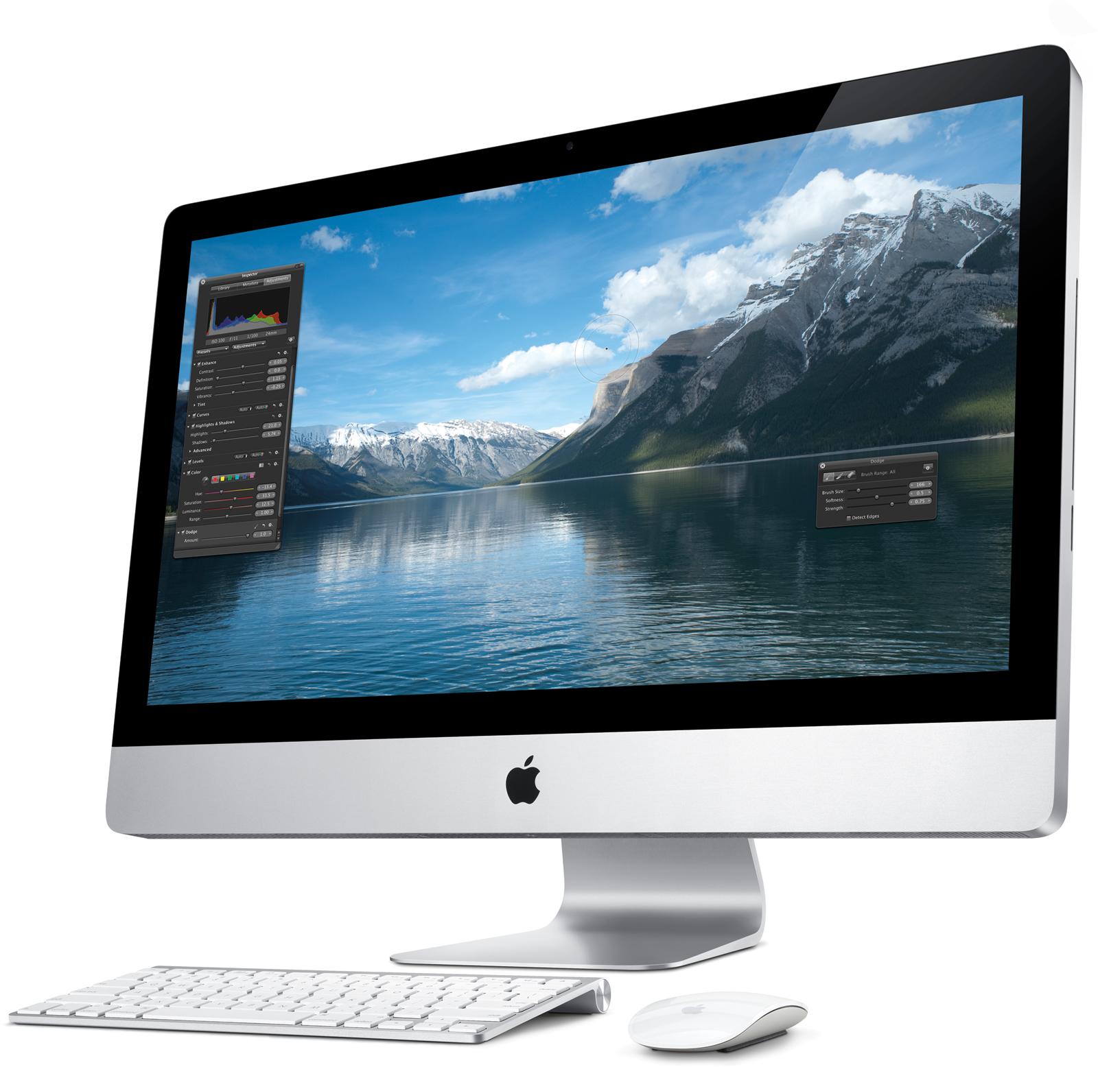 Novo iMac visto de lado, com teclado e Magic Mouse