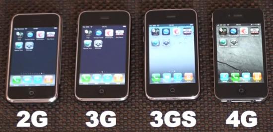 Quatro gerações do iPhone em teste de velocidade