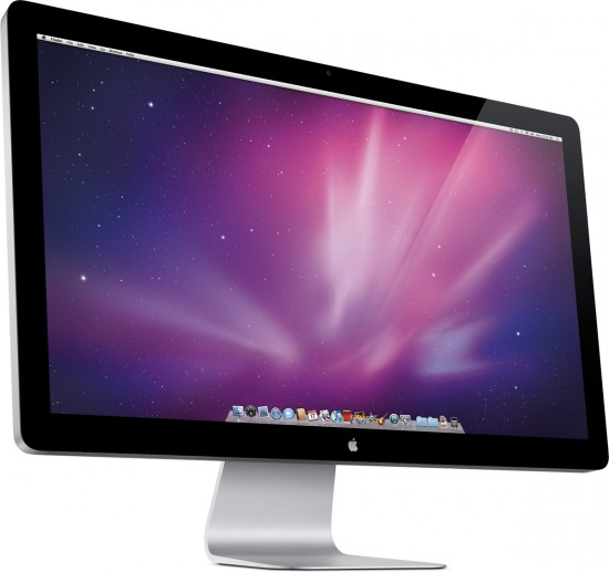 Novo LED Cinema Display visto de frente e de lado