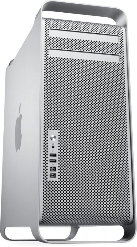 Nova torre Mac Pro vista de lado e de baixo