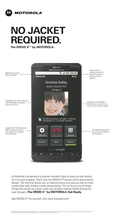 Anúncio do Motorola DROID X atacando a Apple