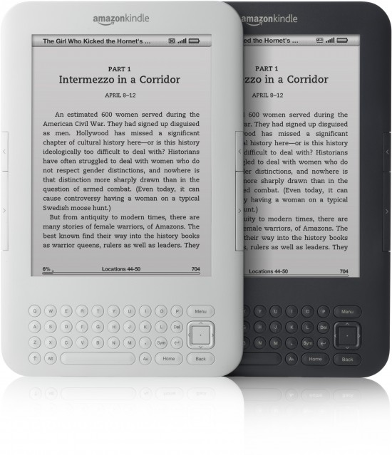 Novos Kindles, branco e preto