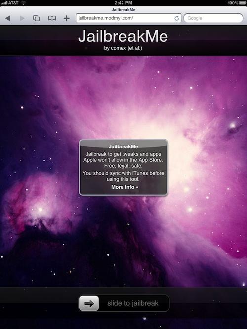JailbreakMe rodando num iPad