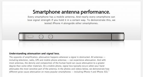 Página sobre antenas no Apple.com