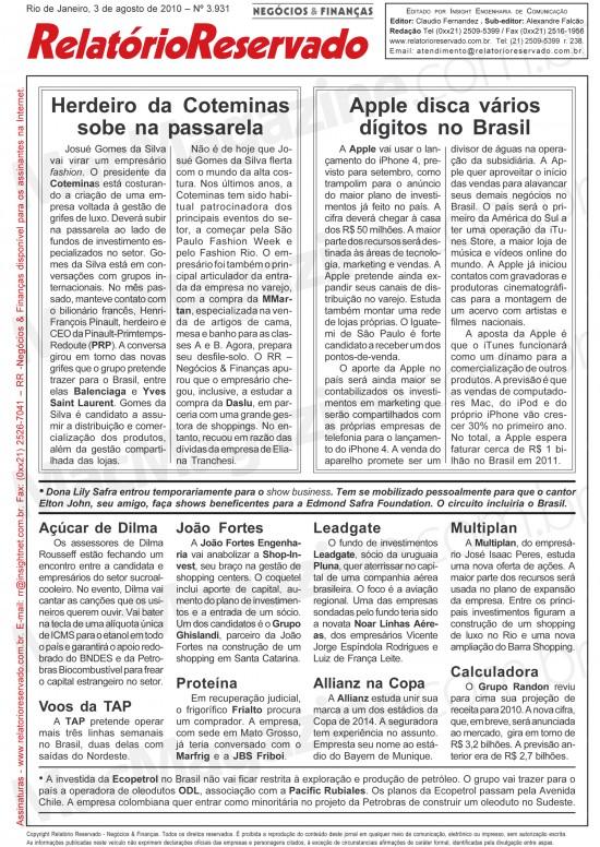 Relatório Reservado sobre Apple no Brasil