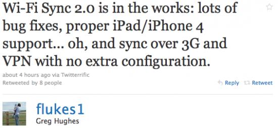 Anúncio do Wi-Fi Sync 2.0
