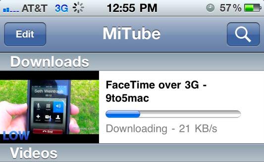 MiTube baixando vídeo