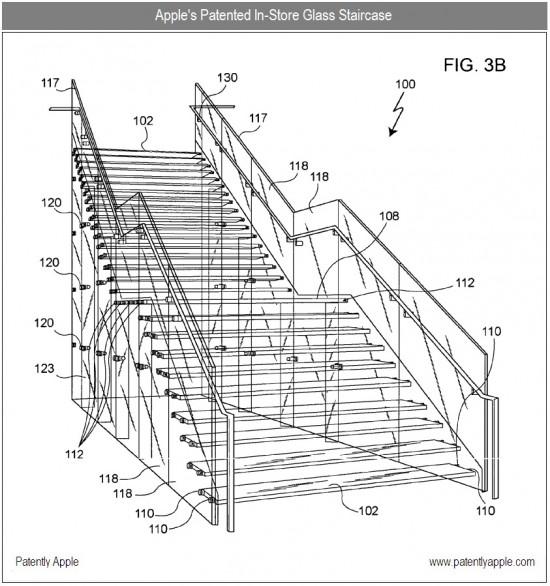 Apple patenteando escada de vidro