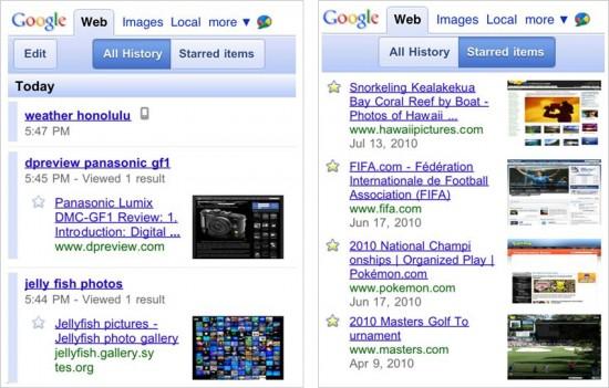 Google Search History para mobile
