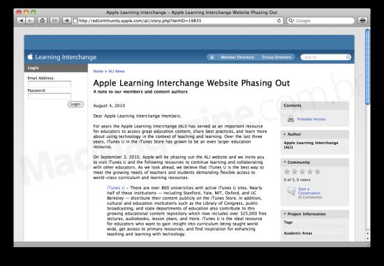 Apple Learning Interchange fechando