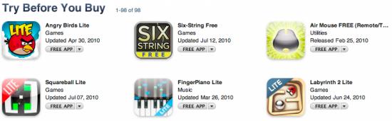 """Seção """"Try Before You Buy"""" na App Store"""